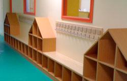 Détail de casiers de l'École maternelle Condorcet à Villeneuve Saint Georges